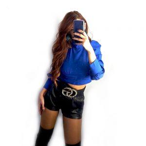 blusa azul manga larga sapphire