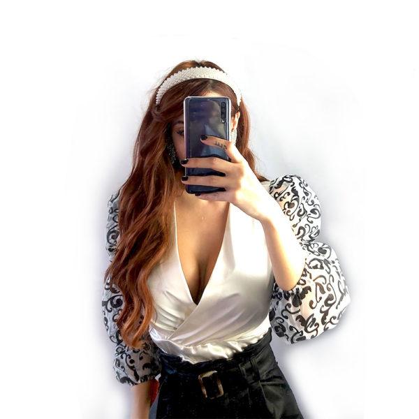 body blanco manga larga mujer simfony