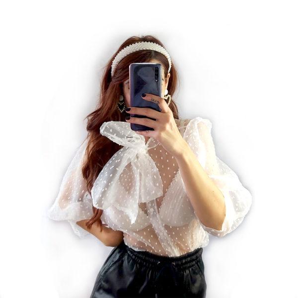 camisa de organza transparente