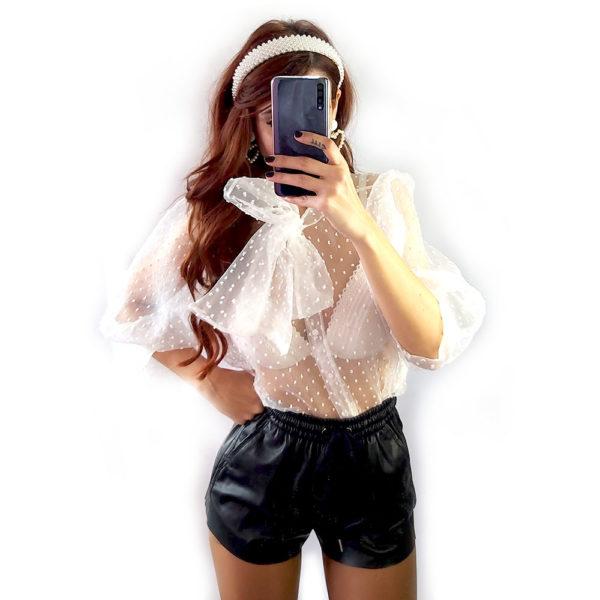 camisa organza blanca lux