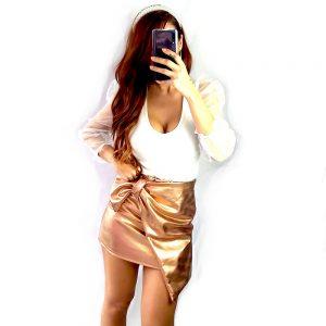falda dorada brillo lazo