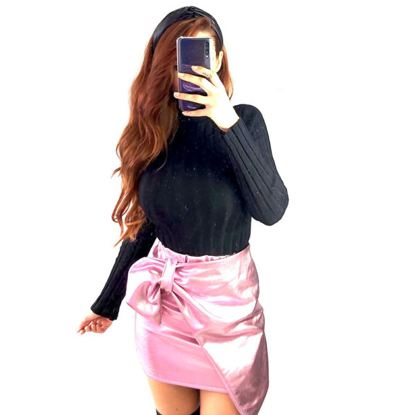 falda rosa metalizada mujer