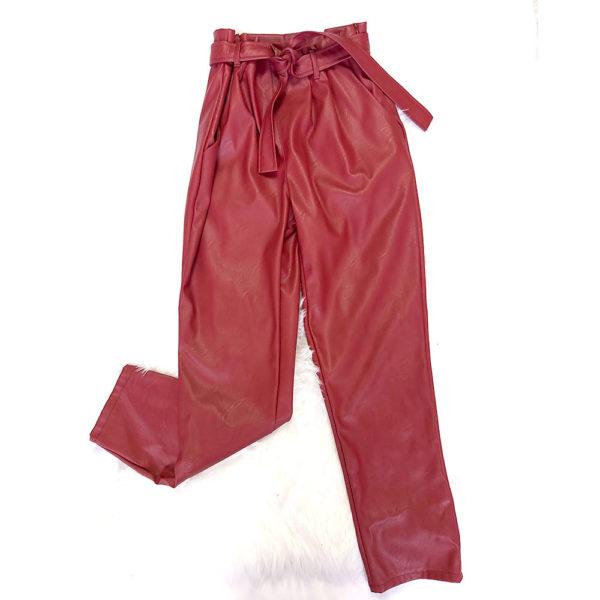 pantalon polipiel rojo