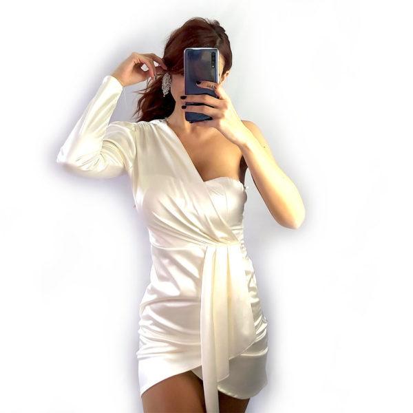 vestido asimetrico blanco olympus