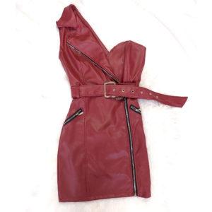vestido polipiel burdeos