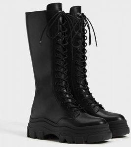 botas altas militar mujer bershka