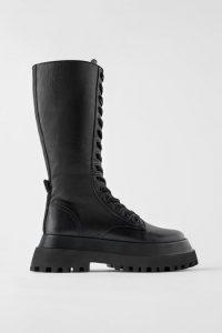 botas militares altas de mujer zara
