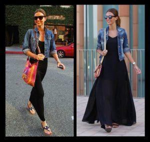 combinar vestido negro largo informal