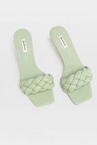 sandalias mujer acochadas stradivarius verde agua