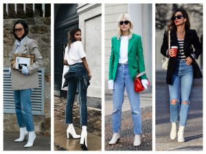 botas blancas mujer con jeans