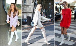 botas blancas con sudadera mujer