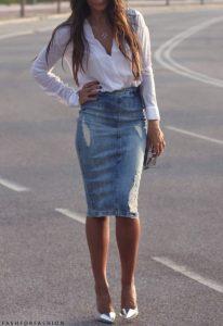 falda vaquera tubo mujer con camisa
