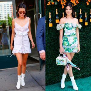 kendall con botas blancas y vestidos verano