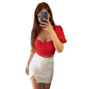 falda lunares blanca