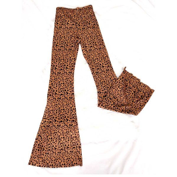 pantalon campana animal print marron