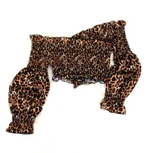 top leopardo manga larga
