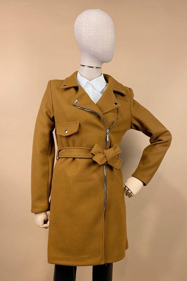 abrigo largo cremallera marron