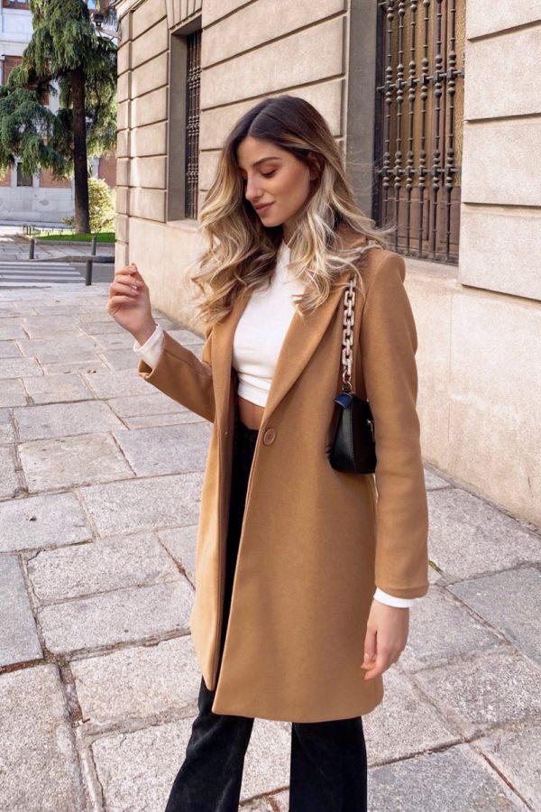 abrigo largo paño camel