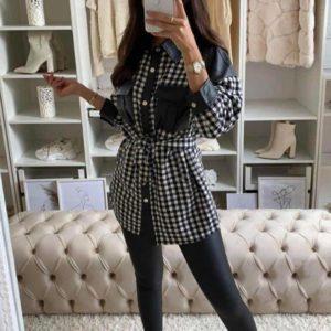 vestido camisero polipiel